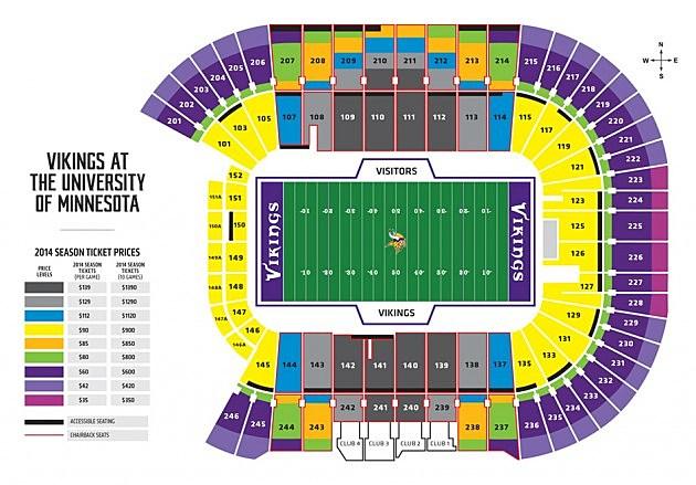Vikings TCF Stadium Ticket Pricing Chart