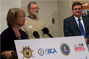 Patty Wetterling, Jerry Wetterling and National Center for Missing and Exploited Children CEO John Ryan speak to reporters at a news conference highlighting Jacob Wetterling abduction. Lee Voss, WJON News
