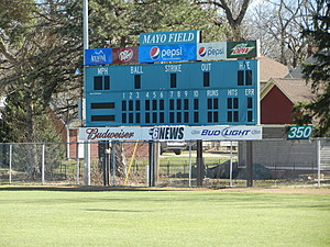 Mayo Field scoreboard - photo by Kim David, Townsquare Media